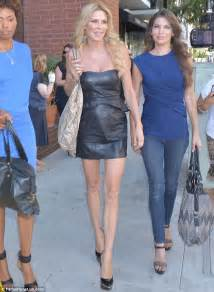 double strand short necklaces like kyle richards brandi glanville shows off her toned legs in tiny leather