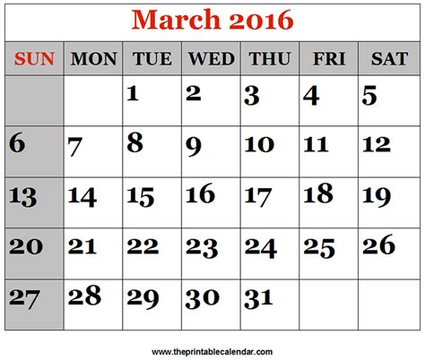 2016 march month calendar printable printable calendar march 2016 printable calendars