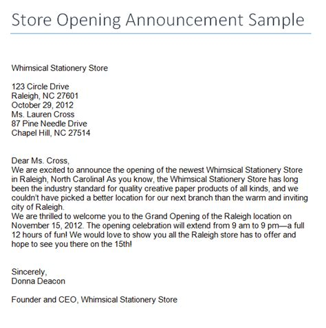 Opening Letter For Event Store Opening Announcement Sle Archives Sle Letter