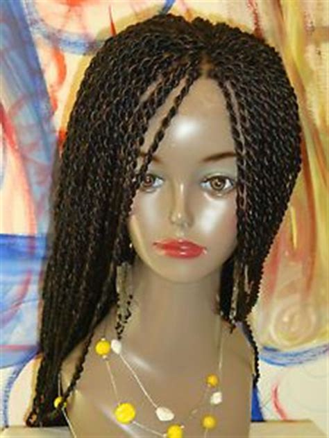 fully braided lace front wig solange braids senegalese color  long  braids  wigs