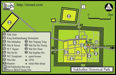 sukhothai historical park map sights sukhothai thailand