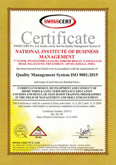 Nibm Mba Review by Nibm Is Iso 9001 2015 Certified Institute