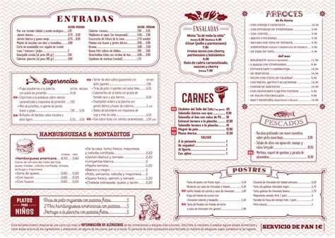 carta de un restaurante men 250 s y carta ya restaurante