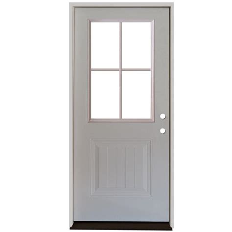 Front Door Panel Steves Sons 32 In X 80 In Premium 4 Lite Plank Panel Primed White Steel Prehung Front Door