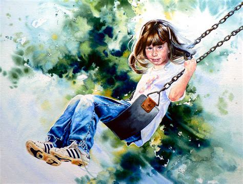 girl on a swing painting painting of girl on swing commission a portrait