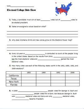 Electoral College Worksheet by Presidential Elections And The Electoral College Worksheet