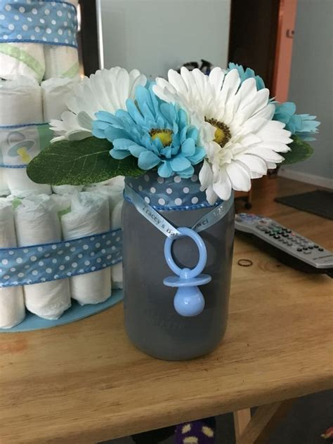 finished jar centerpiece for boy baby shower