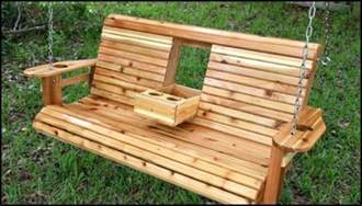 Pallet Furniture Bench Build A Wood Porch Swing With Cup Holders Diy Projects