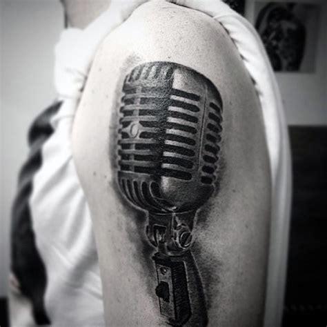 Microphone Realistic Tattoo | big black ink 3d realistic vintage microphone tattoo on