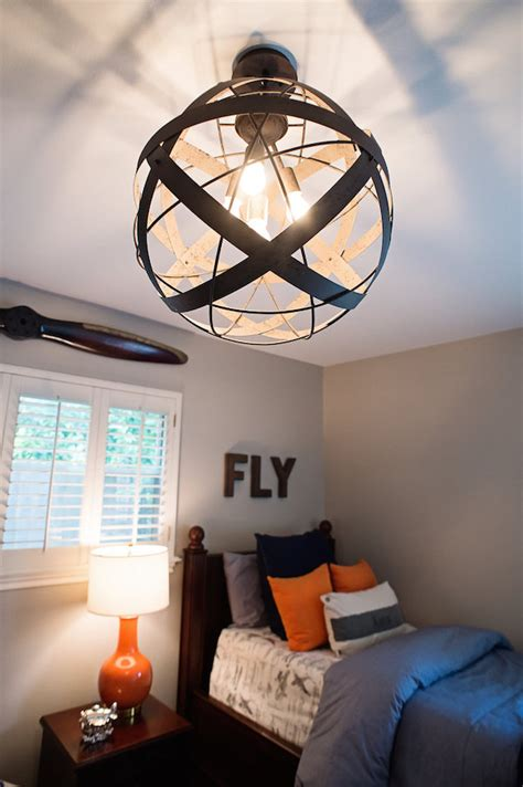 Boys Bedroom Light Navy And Orange Airplane Bedroom House Of