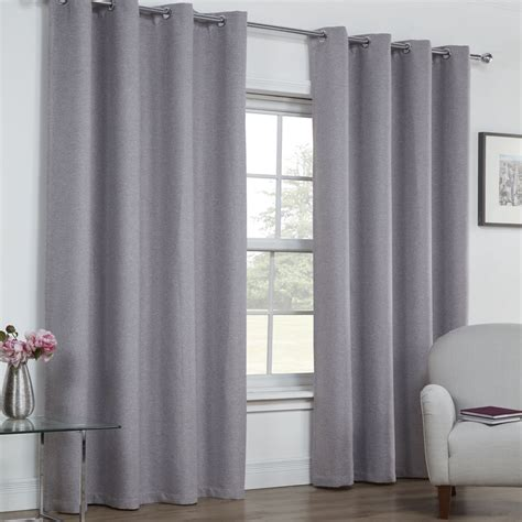 textured eyelet curtains textured woven plain thermal blackout linen look eyelet