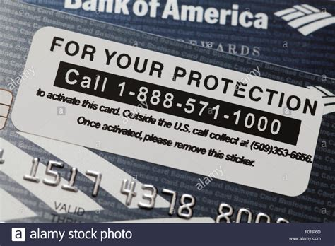 Sle Credit Card Number Usa Bank Of America Credit Card Activation Phone Number Usa Stock Photo Royalty Free Image
