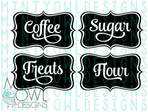 diy kitchen canister labels free silhouette studio file svg cut file jar canister coffee sugar flour treats