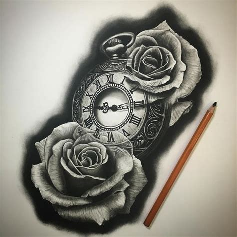 clock tattoo with roses clock pencil and in color clock