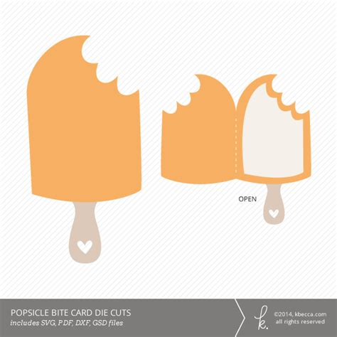 Popsicle Card Template by Bitten Popsicle Card Die Cuts Svg Files Included