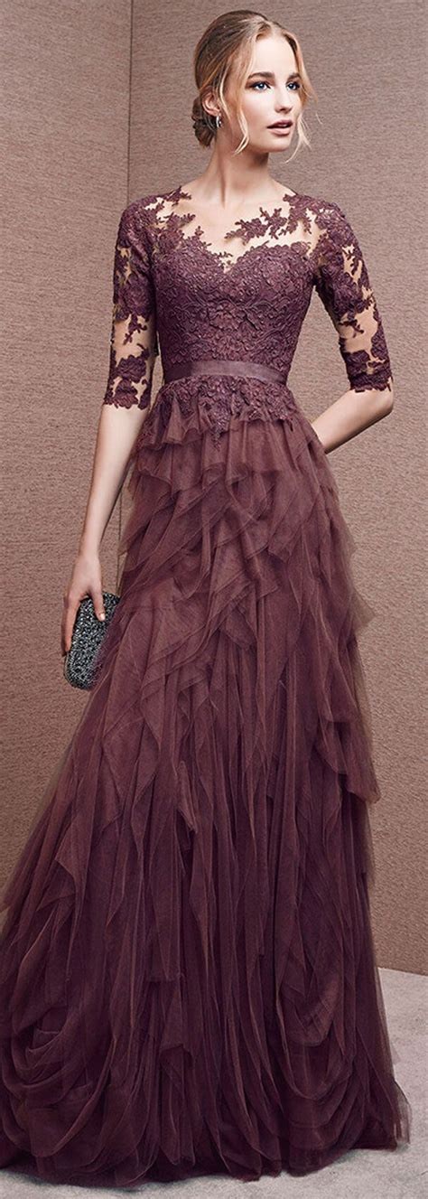 Sleeve A Line Evening Dress gorgeous tulle neckline half length sleeves a line