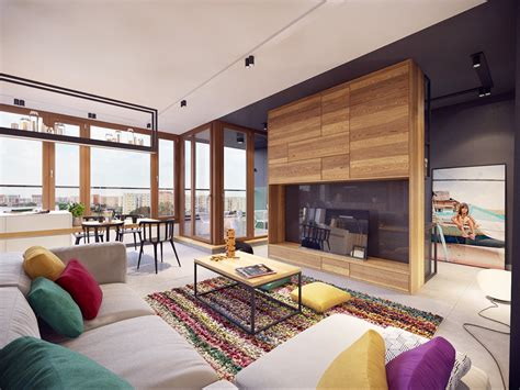 decorating apartments colorful modern apartment design uses space to beautiful effect