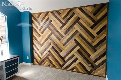 herringbone pattern wall diy herringbone wood paneled wall makely school for girls