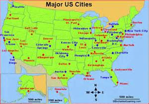united states map labeled with cities