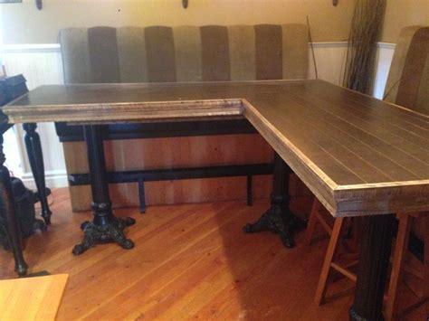 L Shaped Bar Table L Shaped Bar Height Table W 3 Cast Iron Legs Saanich