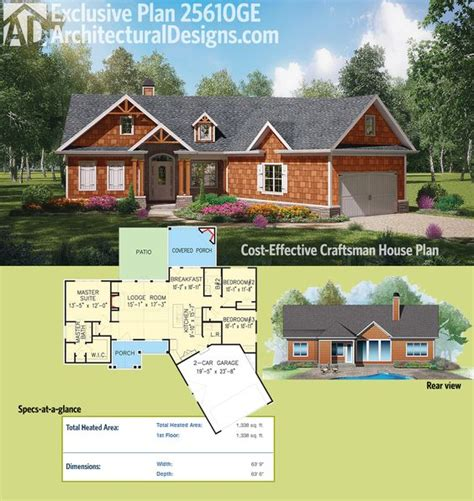 Plan 25610ge Cost Effective Craftsman House Plan Craftsman House Plans Cost To Build