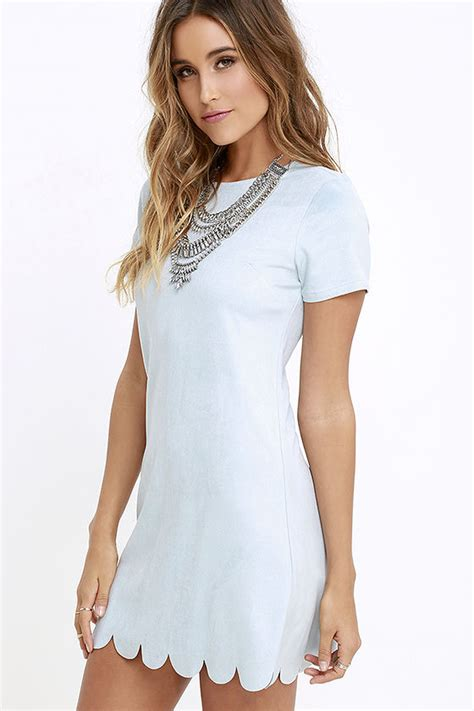 light blue suede dress chic light blue suede dress shift dress scalloped