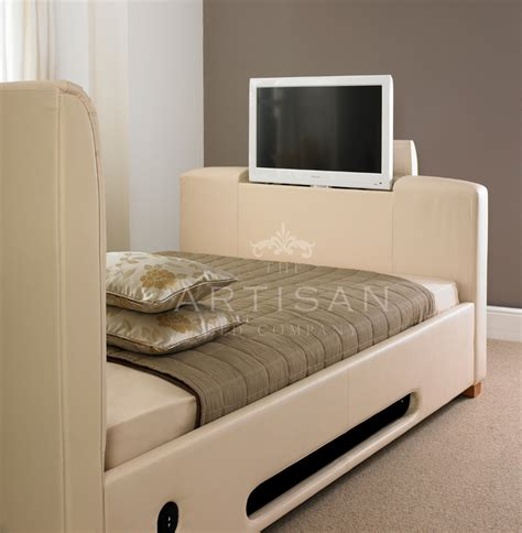tv bed uk artisan 4ft6 double leather tv bed ivory white