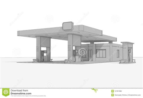Church Floor Plans Free the sketch of a building of a filling station royalty free