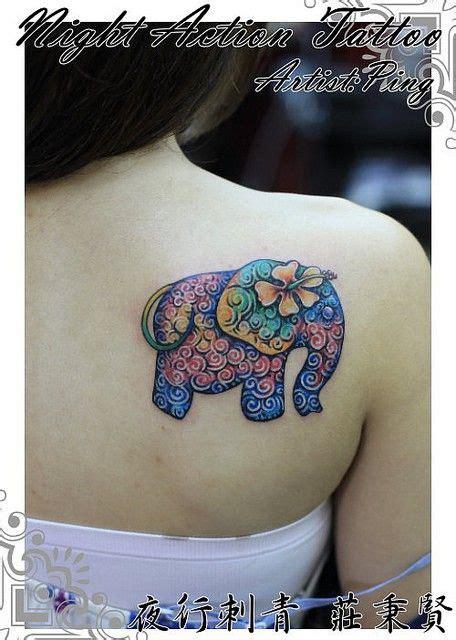 elephant tattoo on shoulder blade friend tattoos unusual flower watercolor elephant tattoo