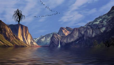 mountains valley landscape artistic birds flying hd