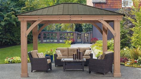 12 x 14 wood gazebo with aluminium roof by yardistry