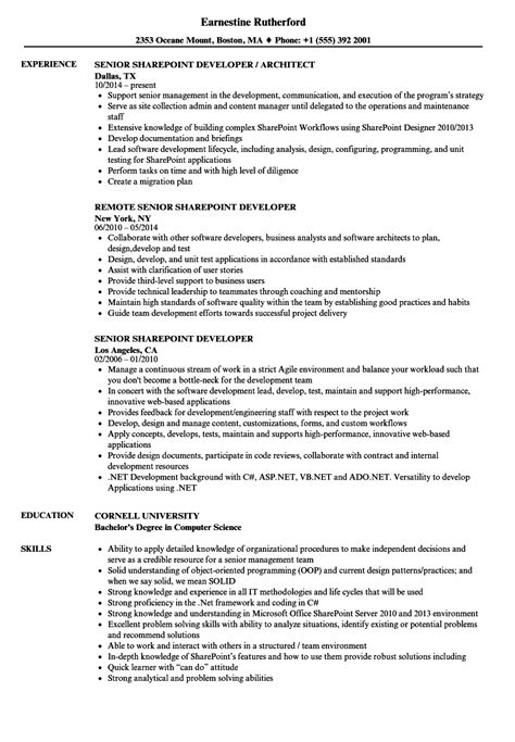 sample resume for sharepoint developer globish me