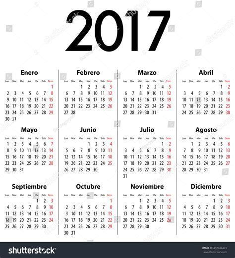 What Does Calendario In Calendar 2017 Mondays Calendar 스톡 벡터