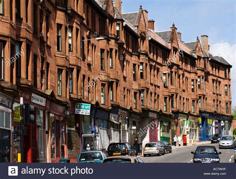 tenement housing typical old red sandstone built tenement housing in historic high stock photo royalty