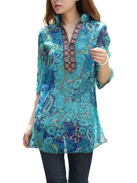 Stand Collar Floral Blouse folk style stand collar half sleeve floral printed