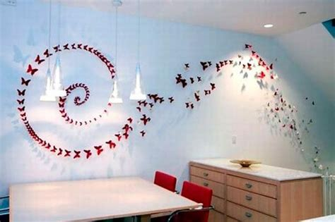 Paper Craft Decoration Ideas - handmade butterflies decorations on walls paper craft ideas