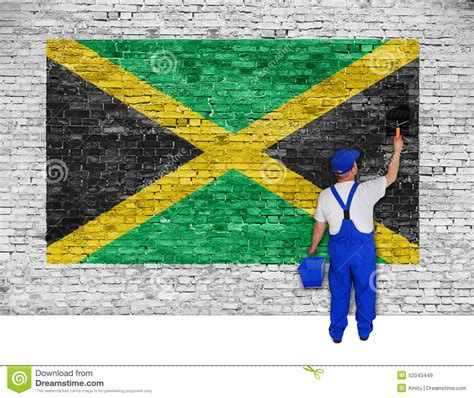 jamaican house painter house painter covers brick wall with flag of jamaica stock illustration image 52043449