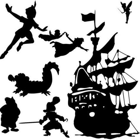 Peter Pan Wall Scene Vinyl Decal By Itsonthewallsdecals On Pan Silhouette Template