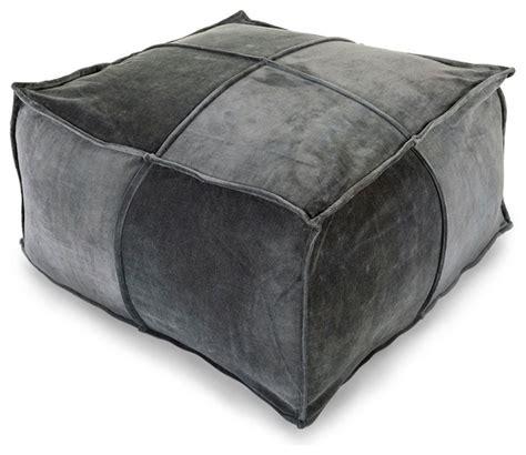 cotton velvet pouf charcoal transitional floor