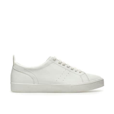 white sneakers mens zara asymmetric sneakers in white for lyst