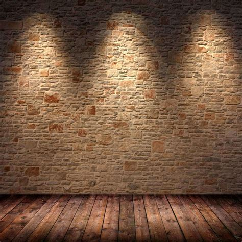 5x7ft Light Color Bricks Wall Vintage Wooden Floor Wedding