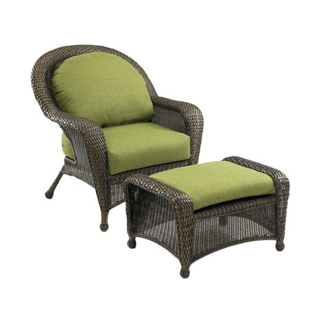 lowes wicker chairs shop outdoor greatroom company balsam wicker patio chair with solid cushion at lowes