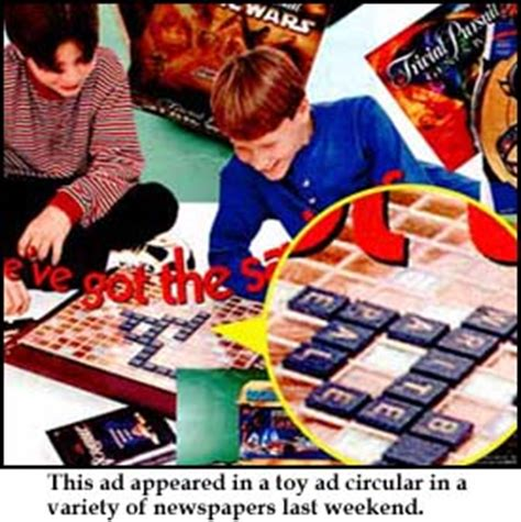 ad free scrabble caldor apologizes for scrabble ad nov 5 1998
