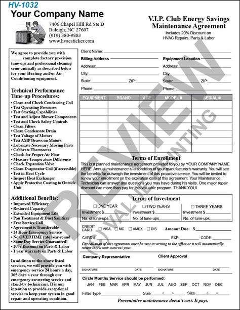 hvac maintenance agreement template hvac service contract template free printable documents