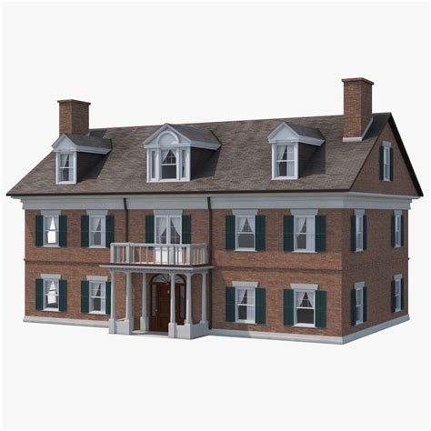 3d house building 3d model colonial house build