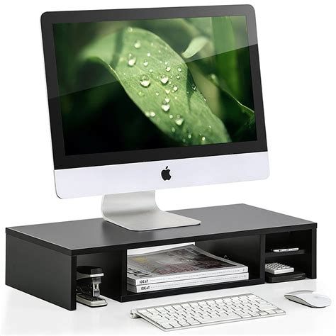 desktop computer stands fitueyes computer monitor riser with gray glass shelf and
