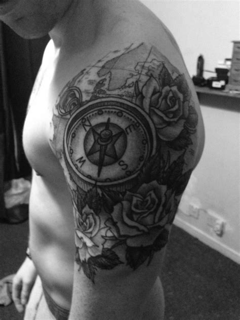 quarter sleeve arm tattoo my new quarter sleeve rose and compass tattoo by ross