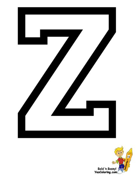 Letter Z sports college alphabet coloring free alphabets