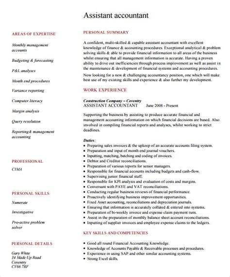 Resume Format Pdf For Accountant Sle Accounting Resume 6 Documents In Pdf