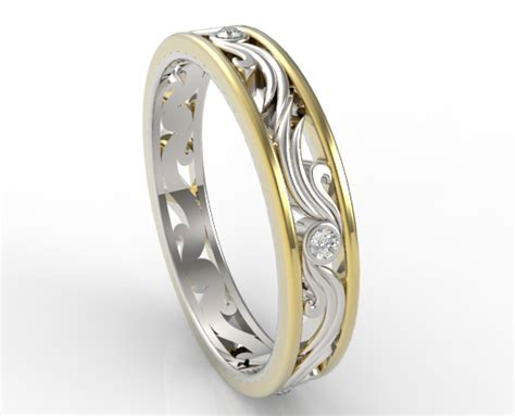 Wedding Bands Two by Womens Wedding Band Two Tone Gold Vidar Jewelry